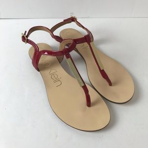 Calvin Klein Women Samira Red Leather Thong Sandal